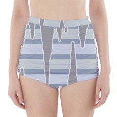 Cavegender Pride Flag Stone Grey Line High Waisted Bikini Bottoms