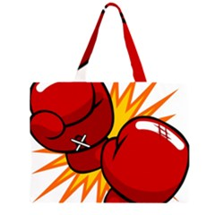 Boxing Gloves Red Orange Sport Zipper Large Tote Bag by Alisyart
