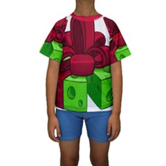 Cheese Green Kids  Short Sleeve Swimwear by Alisyart
