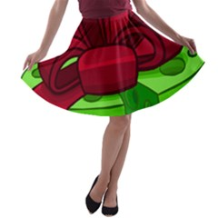 Cheese Green A-line Skater Skirt by Alisyart