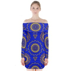 Abstract Mandala Seamless Pattern Long Sleeve Off Shoulder Dress