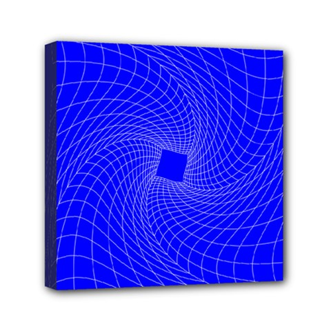 Blue Perspective Grid Distorted Line Plaid Mini Canvas 6  X 6  by Alisyart
