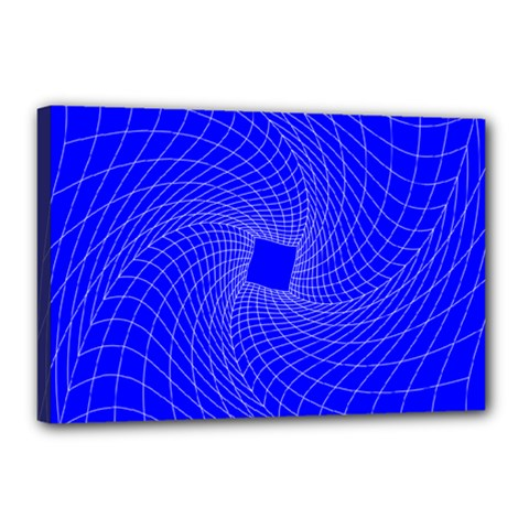 Blue Perspective Grid Distorted Line Plaid Canvas 18  X 12