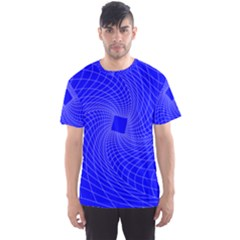 Blue Perspective Grid Distorted Line Plaid Men s Sport Mesh Tee by Alisyart