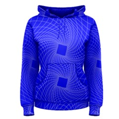 Blue Perspective Grid Distorted Line Plaid Women s Pullover Hoodie