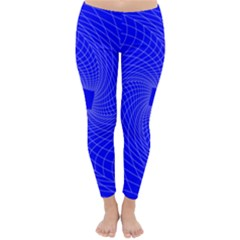 Blue Perspective Grid Distorted Line Plaid Classic Winter Leggings
