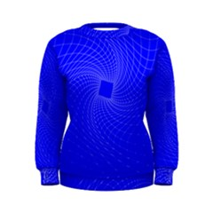 Blue Perspective Grid Distorted Line Plaid Women s Sweatshirt