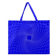 Blue Perspective Grid Distorted Line Plaid Zipper Large Tote Bag by Alisyart