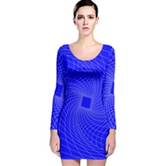 Blue Perspective Grid Distorted Line Plaid Long Sleeve Velvet Bodycon Dress by Alisyart