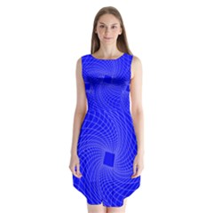 Blue Perspective Grid Distorted Line Plaid Sleeveless Chiffon Dress   by Alisyart