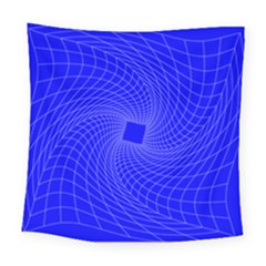 Blue Perspective Grid Distorted Line Plaid Square Tapestry (large)