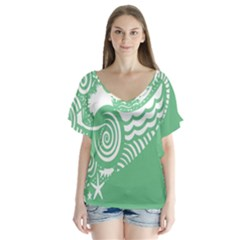 Fish Star Green Flutter Sleeve Top