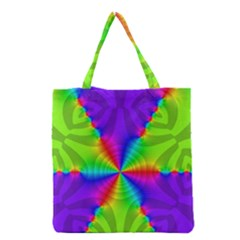 Complex Beauties Color Line Tie Purple Green Light Grocery Tote Bag