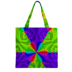 Complex Beauties Color Line Tie Purple Green Light Zipper Grocery Tote Bag by Alisyart