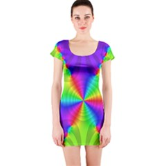 Complex Beauties Color Line Tie Purple Green Light Short Sleeve Bodycon Dress