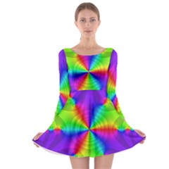 Complex Beauties Color Line Tie Purple Green Light Long Sleeve Skater Dress