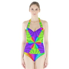 Complex Beauties Color Line Tie Purple Green Light Halter Swimsuit by Alisyart