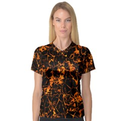 Fiery Ground Women s V Neck Sport Mesh Tee by Alisyart