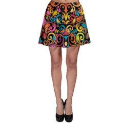 Chisel Carving Leaf Flower Color Rainbow Skater Skirt by Alisyart