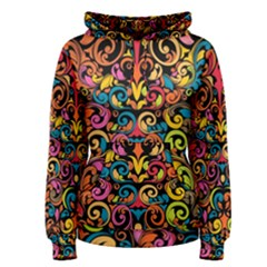 Chisel Carving Leaf Flower Color Rainbow Women s Pullover Hoodie