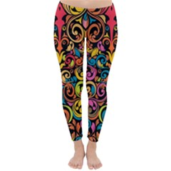 Chisel Carving Leaf Flower Color Rainbow Classic Winter Leggings