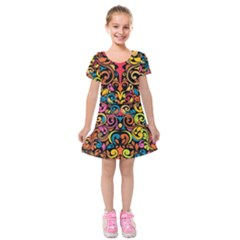 Chisel Carving Leaf Flower Color Rainbow Kids  Short Sleeve Velvet Dress by Alisyart