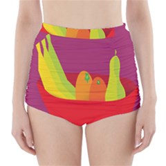 Fruitbowl Llustrations Fruit Banana Orange Guava High Waisted Bikini Bottoms