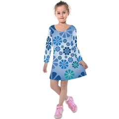 Geometric Flower Stair Kids  Long Sleeve Velvet Dress by Alisyart