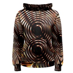 Gold Waves Circles Water Wave Circle Rings Women s Pullover Hoodie