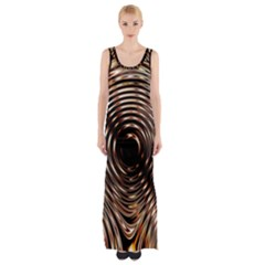 Gold Waves Circles Water Wave Circle Rings Maxi Thigh Split Dress by Alisyart