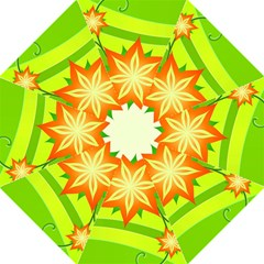 Graphics Summer Flower Floral Sunflower Star Orange Green Yellow Folding Umbrellas by Alisyart
