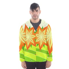 Graphics Summer Flower Floral Sunflower Star Orange Green Yellow Hooded Wind Breaker (men) by Alisyart