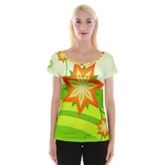 Graphics Summer Flower Floral Sunflower Star Orange Green Yellow Women s Cap Sleeve Top by Alisyart