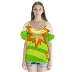 Graphics Summer Flower Floral Sunflower Star Orange Green Yellow Flutter Sleeve Top