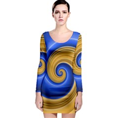 Golden Spiral Gold Blue Wave Long Sleeve Bodycon Dress by Alisyart