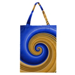 Golden Spiral Gold Blue Wave Classic Tote Bag