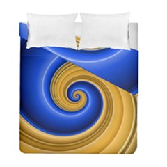Golden Spiral Gold Blue Wave Duvet Cover Double Side (full/ Double Size) by Alisyart