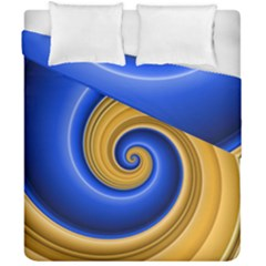 Golden Spiral Gold Blue Wave Duvet Cover Double Side (california King Size) by Alisyart