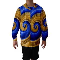 Golden Spiral Gold Blue Wave Hooded Wind Breaker (kids)