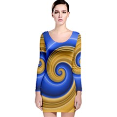 Golden Spiral Gold Blue Wave Long Sleeve Velvet Bodycon Dress