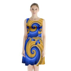 Golden Spiral Gold Blue Wave Sleeveless Chiffon Waist Tie Dress by Alisyart