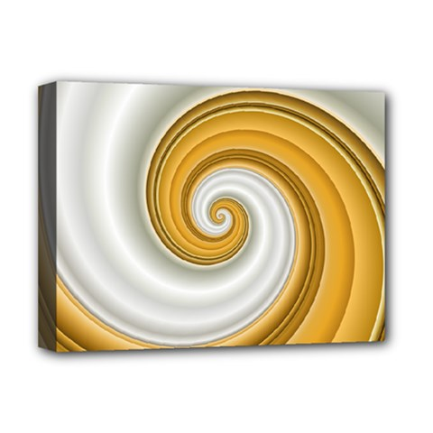 Golden Spiral Gold White Wave Deluxe Canvas 16  X 12   by Alisyart