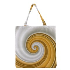 Golden Spiral Gold White Wave Grocery Tote Bag by Alisyart