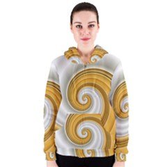 Golden Spiral Gold White Wave Women s Zipper Hoodie by Alisyart