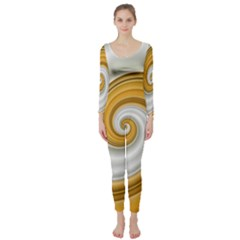 Golden Spiral Gold White Wave Long Sleeve Catsuit by Alisyart