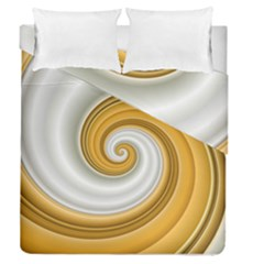 Golden Spiral Gold White Wave Duvet Cover Double Side (queen Size)