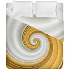 Golden Spiral Gold White Wave Duvet Cover Double Side (california King Size) by Alisyart