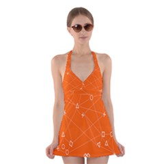 Leadership Deep Dive Orange Line Circle Plaid Triangle Halter Swimsuit Dress