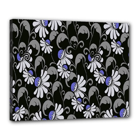 Flourish Floral Purple Grey Black Flower Canvas 20  X 16  by Alisyart