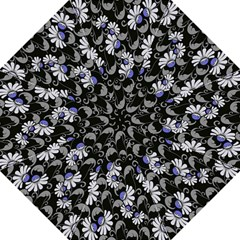 Flourish Floral Purple Grey Black Flower Folding Umbrellas by Alisyart